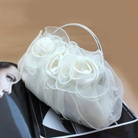 Wholesale Women s Satin Flower Design Clutch Bag Sparking Chain Shoulder Bag Wedding Party Clamshell Handbag hb263