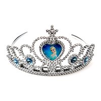 Wholesale Kids Girls Frozen Crown Headband Elsa Anna Plastic Tiaras Children Babies Hair Hoop Hair Sticks