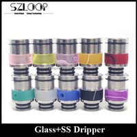 Wholesale Glass Stainless Steel Drip Tip with Airflow Control System Optional Colors Dripper fit RBA RDA Sub Ohm Tanks