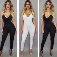 Wholesale 2015 New arrive women Jumpsuits deep V Neck fashion sexy women Rompers Straps Backless women pants Cross back Jumpsuits black