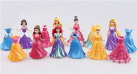 Wholesale Original Disny Princess MagiClip Rapunzel Ariel Snow White Cinderella Belle Aurora Tiana kids girl Small Doll Fashion Figure Toy Gift