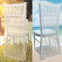Wholesale Idyllic Simple Style White Lace Seat Back Cover Wedding Banquet CHAIR COVERS Supplies Black White and Cream Colors Available