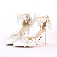 Wholesale 2016 New fashion crystal wedding Shoes pointed toe lace flowers appliques High Heels Bridal dress Shoes ankle strap party pumps