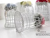 Cheap High Quality Wedding Favor candy Boxes White Metal Bell Birdcage Shaped with Flower Wedding Favor Supplies Wedding Candy Boxes gift