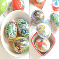 easter egg candy - Easter Gifts Egg Eggshel Tin Boxes Pills Case Wedding Candy Can Jewelry Party Accessory Iron Trinket Gift