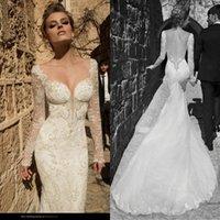 galia lahav wedding dresses - Vestidos Galia Lahav Lace Sheer Long Sleeves Mermaid Wedding Dresses Backless Beads Appliques Tull Bridal Gowns Sweep Train