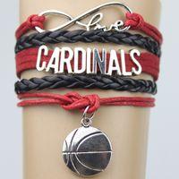 Wholesale Top Quality Infinity Love CARDINALS basketball Team Bracelet red black Customized Wristband friendship Bracelets