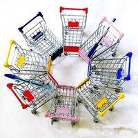 Wholesale Free DHL Cute shopping Cart Mobile Phone Holder Pen Holder Mini Supermarket Handcart Shopping Utility Cart Phone Holder
