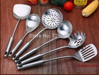 Wholesale Stainless steel cookware set full scoop shovel colander Cookware Sets SEVEN PIECE contains Kitchen shelves