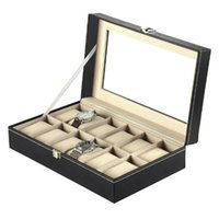Wholesale CE Proved Slots Leather Watches Box Display Glass Top Jewelry Jewelry Case