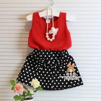 Wholesale 2 Set Bala_bala Korean Style Children Girls Sleeveless Chiffon T shirt Dots Skirt Children s Girl Lovely Outfits Sets B