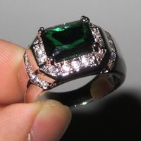 Cheap Fancy Men's 925 Silver Filled Oblong Emerald with CZ Side Stone Ring