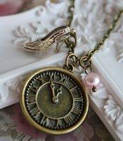 american retro heel - 12pcs Cinderella necklace love vintage charm clock high heel pendant bronze antique retro jewellery princess fairy tale jewelry