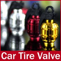 Wholesale 4 x Grenade Design Bike Bicycle Motorycycle Car Wheel Tire Tyre Dust Valve Caps Set Red Golden Silver Decorated Air Stem Covers
