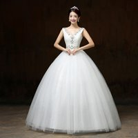 make up factory - Factory Diret Whole Sale New White Lace V neck Beaded Rhinestone Lace Up Unique Sexy Ball Gown Full length Wedding Dresses H61