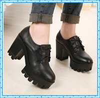 Wholesale lace up boots leather autumn punk shoes high heels boots platform shoes woman motorcycle ankle boots for women casual shoes C507