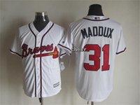 atlanta fabric - 2015 Newest Men s Atlanta Braves maddux white New Fabric Baseball Jersey Cheap jerseys Size M XXXL