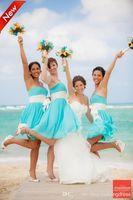 Cheap 2015 Beach Light Blue Short Chiffon Bridesmaid Dresses Sweetheart Neckline Sleeveless Plus Size Short Party Dresses
