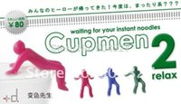 Cheap Wholesale-Free Shipping 10Pieces Cupmen 2 Relax Instant Noodle Figure Set Instant Ramen Readiness Indicator