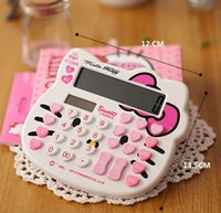 Wholesale Classic Hello Kitty Digits Solar Calculator Electronic Cartoon Lovely very cute counters white and pink color beautiful packing DHL free