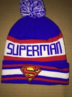 beanie with ball - Cheap Superman Beanies Hat For Men With Pom Cool Hip Hop Knitted Hat Sport Skullies Warm Women Winter ball Hat
