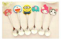 Wholesale new Children s fashion silicone handles stainless steel spoon cute cartoon spoon