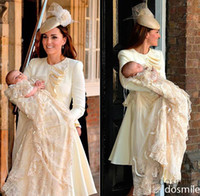 Wholesale Famous Prince George Christening Dresses with Beautiful Tiered Long Sleeve Long Champagne Lace Unique Baby Christening Gowns