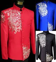 achat en gros de marié mariage costume chinois-Gros-New Fashion 2015 chinoise de style robe de mariée Noir / bleu broderie Homme Tunique Costume de marié Costumes de mariage Terno Masculino