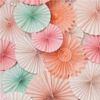 Wholesale cm Paper Fan Crafts Party Wedding Backdrop Baby Shower Favors Artificial Flower Arrangements
