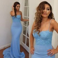 azure silk - 2016 Custom Made Azure Bridesmaid Dresses Hot Mermaid Spaghetti Straps Beaded Lace Appliques Zipper Back Long Maid of Honor Dress Plus Size
