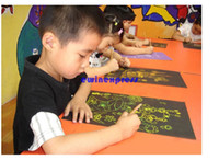Wholesale 20set Sheet K Colorful Scratch Art Paper Magic Painting Paper with Drawing Stick Children Kids art supplies sets