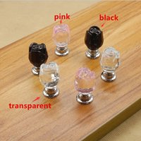 Wholesale 10PCS mm Diamond Crystal rose shape Glass Alloy Door Drawer Cabinet Wardrobe Pull Handle Knobs Drop Wardrobe Hardware