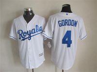 Cheap Newest Baseball Jerseys Royals 2015 Cool Base #4 Gordon Home Jersey White Color Made in Honduras Size S-XXXL Mix Order