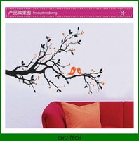 Wholesale Love birds black branch rd generations removable wall stickers