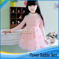 Niñas ropa 100% algodón elegante vestido del bebé de la flor rosada balón vestido de falda 100-150cm vestidos Kid Moda