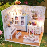 Wholesale Kits DIY Wood Dollhouse Piano Miniature With LED Furniture cover Magic Gift