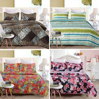 Cheap new arrival!!! 4 colors quilt sets queen size bedspread and pillowcases leopard pattern 3pcs high quality coverlet set
