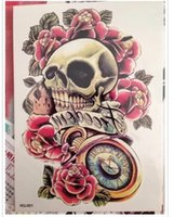 best rose tattoos - Best Price Waterproof Fashion Temporary Tattoos Metal Tatoo Stickers Rose Skull Flash Tattoo for Men Women Male
