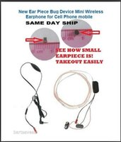 Wholesale World smallest Super Mini Hidden Earpiece Wireless FBI Earpiece Spy Earphone mobile Phone Earpiece