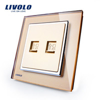 Wholesale Hot Sale Manufacture Livolo Three Types Color Luxury Crystal Glass Panel Gangs Wall Socket for Computers VL W292C