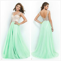 Wholesale Blush Prom Dresses Cheap Party Dresses With V Neck Beads Crystals Mint Chiffon Backless Evening Dresses Formal Ball Gowns Beach Dresses