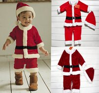Cheap 45%off!Velvet Christmas Romper. Red hooded long-sleeved suit. Winter children clothes. Overcoats. baby wear outlets 3sets (6pcs) z3