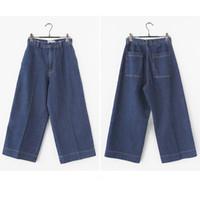 asia jeans - Women Pants Retro Wide Leg Jeans Casual Loose Straight Denim Pants Womens Capris Asia Size S XL XK0188