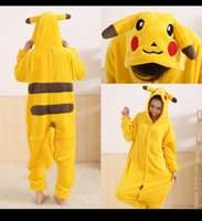 adult footed pajamas christmas - 2014 Winter Animal Costume Flannel Woman Man Warm Winter Pajamas Pikachu Anime Footed Pajamas Unisex Adult Onesie Animal Cosplay Costume