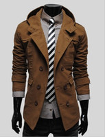 Wholesale Fashion New men trench coats spring Korean slim fit casual trench coat hoodie outwear men s clothing mens clothes