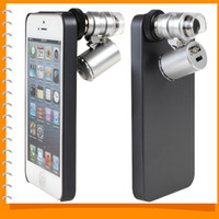 Wholesale Dual purpose Mobile Cell phone Case Protective Back Cover with X Zoom Mini Microscope Magnifier for iPhone S