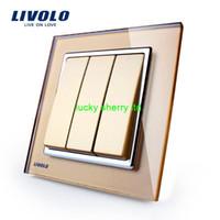 Wholesale Livolo New Wall Light Switch Golden Glass Panel AC V Gang Way Push Putton Switch VL W2K3