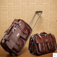 Wholesale 17 Brown Business Leather Trolley Luggage Vintage Suitcase Board Chassis Bag Travel Bags For Men and Women Specials A3