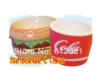 big dog bowls - Pet dog puppy porcelain ceramic bowl a big MAC hamburger coke package anti slip