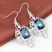 Dangle & Chandelier Multi-color Europe & American 2prs   Lot Newest Square Mystic Topaz Gemstone 925 Sterling Silver Plated Drop Earrings e0461